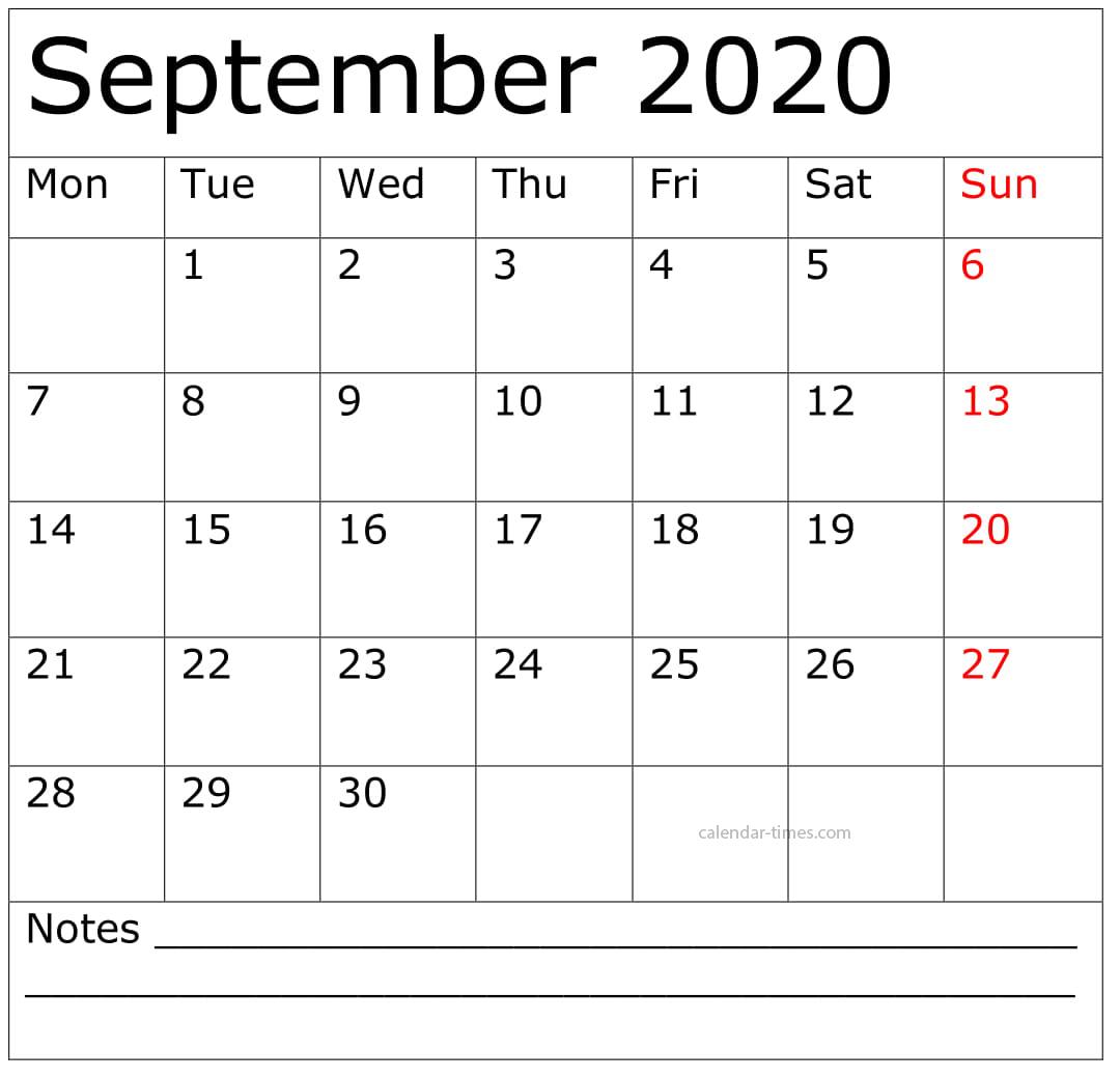 September Calendar 2020
